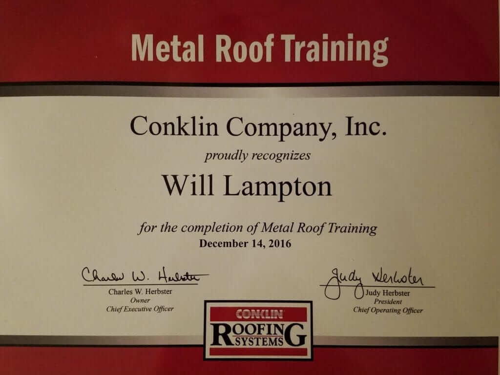 Metal Roof Training Certificate by Conklin awarded to Will Lampton of Roof Crafters